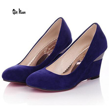 Qin Kuan Plus Size 34-43 New Style Women Wedge Suede Party High Heel Sh