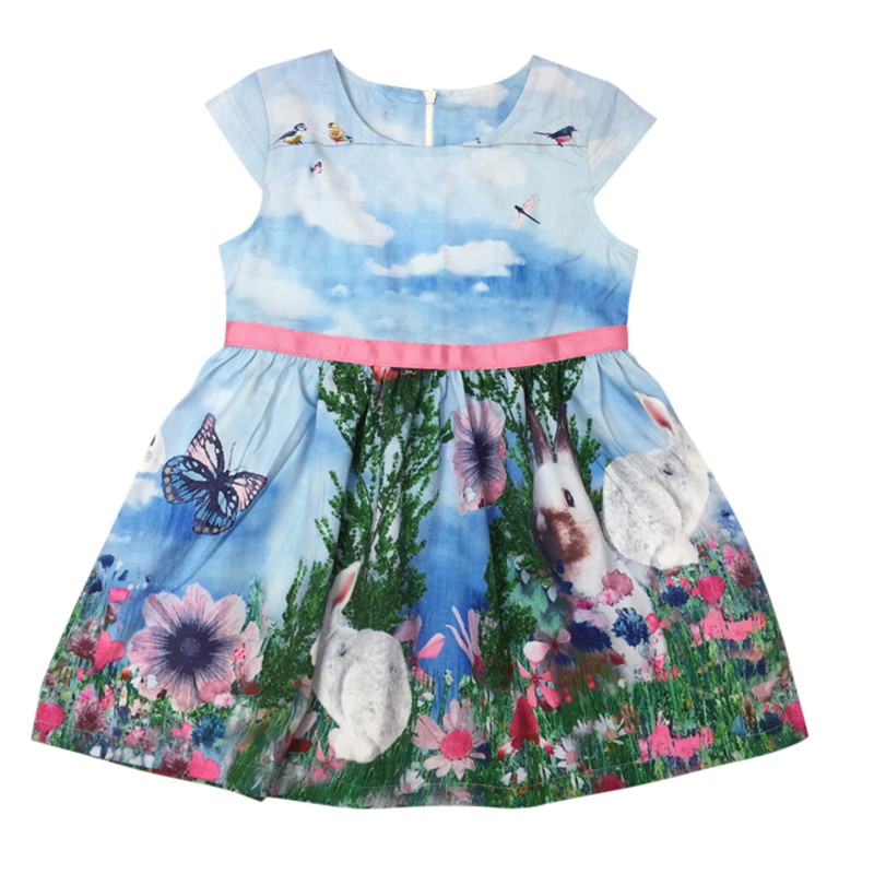 Summer Kids Baby girl dress Sleeveless rabbit pattern tutu dresses boutique clothing