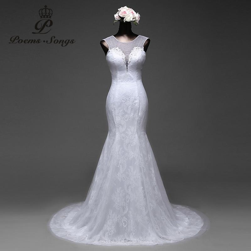 PoemsSongs2017 Three-layer High Quality Fabric Sexy Mermaid Wedding Dress And Sexy Back Vestido De Noivas Bridal Dress Ball Gown