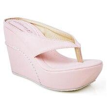 Hot 2015 High Heels Women Flip Flops Summer Sandals Platform Wedges Slippers Girl Fashion Beach Shoes