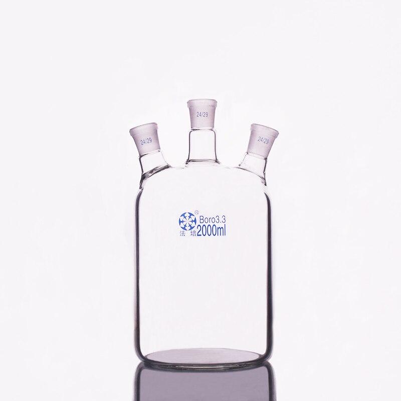 Single-deck cylindrical three-necked  flat-bottom flask 2000ml,Main 24/29,Side 24/29,Single-deck cylindrical reactor bottleSingle-deck cylindrical three-necked  flat-bottom flask 2000ml,Main 24/29,Side 24/29,Single-deck cylindrical reactor bottle