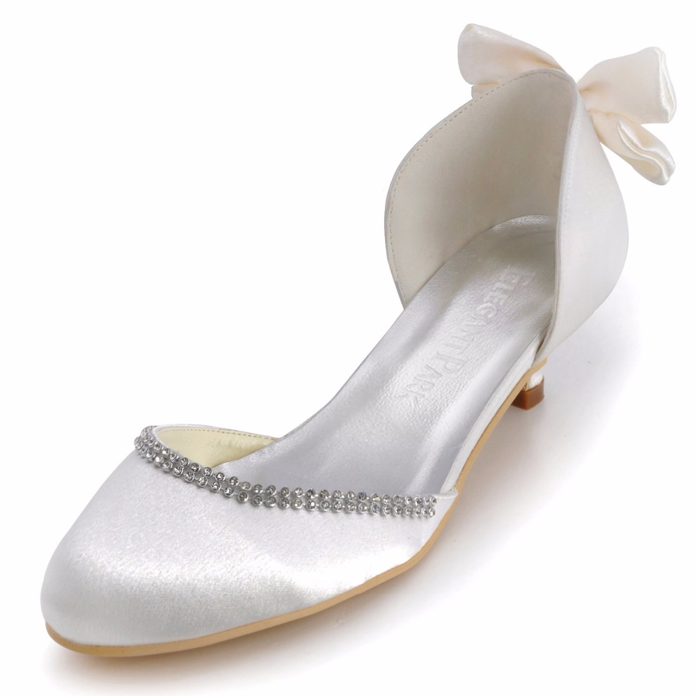 b8fb78edaa29 Elegant Woman Shoes EP41012 Ivory Round Toe Bow Low Heels Comfortable Shoes  Satin Wedding Bridal Pumps Evening Party Women Shoes