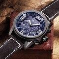 2016 Top de Luxo Da Marca MEGIR Relógios Desportivos Cronógrafo de Quartzo Grande Mostrador do Relógio dos homens Relógio de Pulso de Couro Relojes Relogio masculino