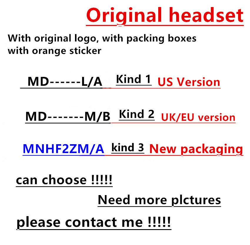 100pcs lot With packaging Genuine Original Quality headset in ear headphones earphone With Remote Mic for