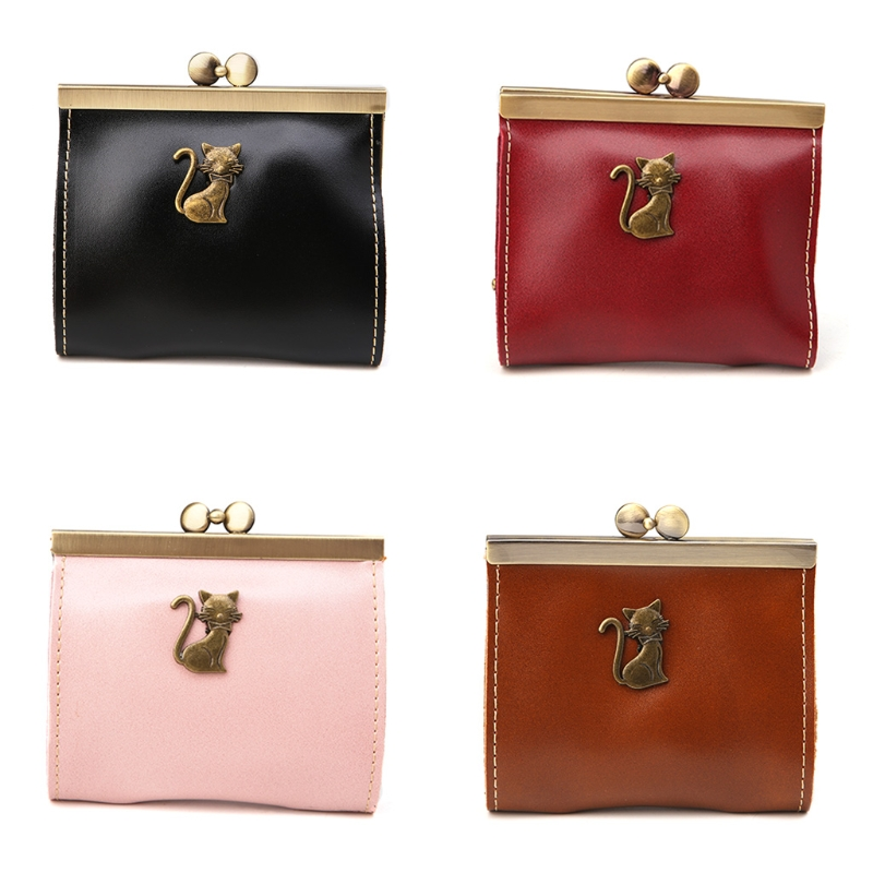 Women Lady Retro Clutch Bag Vintage Kitty Leather Hasp Purse Small Wallet