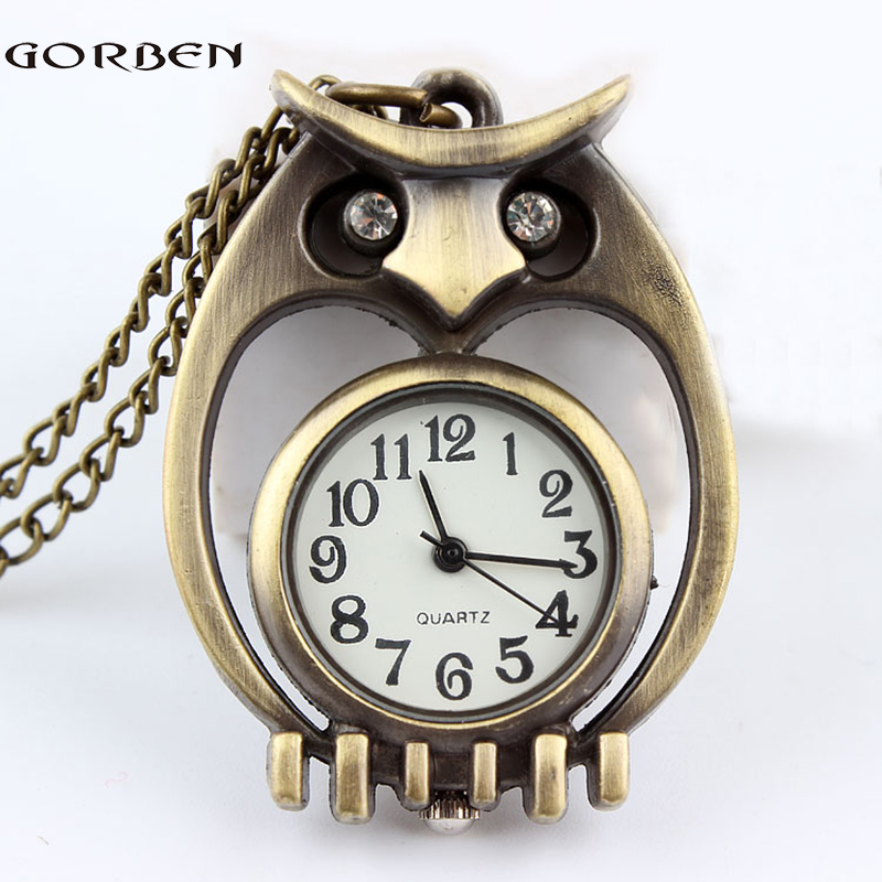 Gorben Brand Small Round Dial Vintage Bronze Cute Owl Pocket Watch Necklace Chain Women Lady Gifts Relogio De Bolso