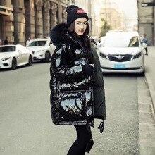 Womens down jackets real Fur Collar Hooded Long Jac
