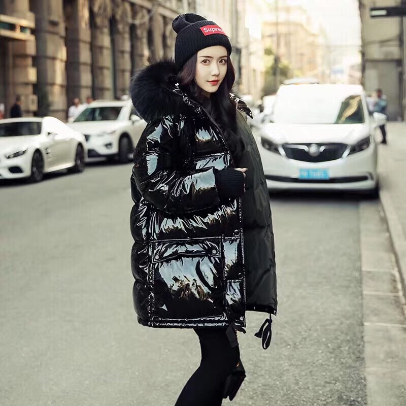 Womens   down   jackets real Fur Collar Hooded Long Jacket Women 2019 Winter Ladies'   Down     coat   plus Size Loose Glossy   Coats   Outwear