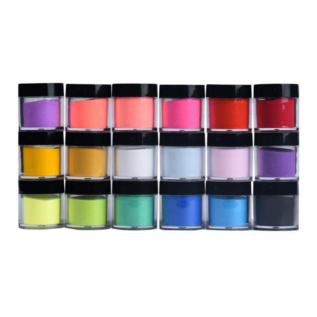 FashionStory 18 Colores de Uñas de Acrílico Arte Consejos Diseño UV Gel Del Polvo Del Polvo de La Decoración 3D DIY Decoración Set jr12