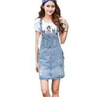 נשים קיץ שמלות סרבל רופף מזדמן סגנון הסטודנטיאלי שמלת ג 'ינס כיס גדול חור לקישוט Plus גודל XXL M