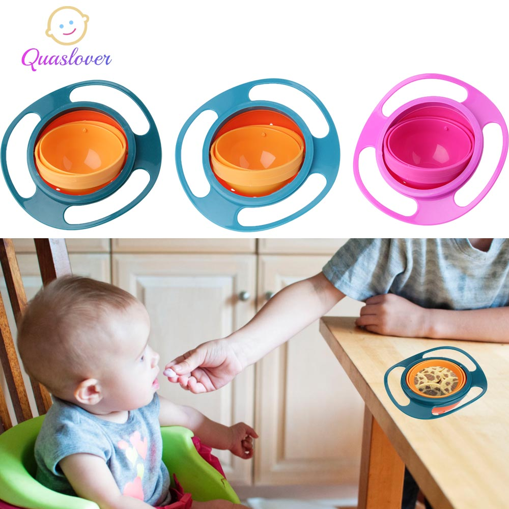 Baby Tableware Dishes Anti Spill Bowl Plate Children Rotary Gyro Bowl Kids 360 Rotate Learning Dinnerware Bowls Feeding Dishes