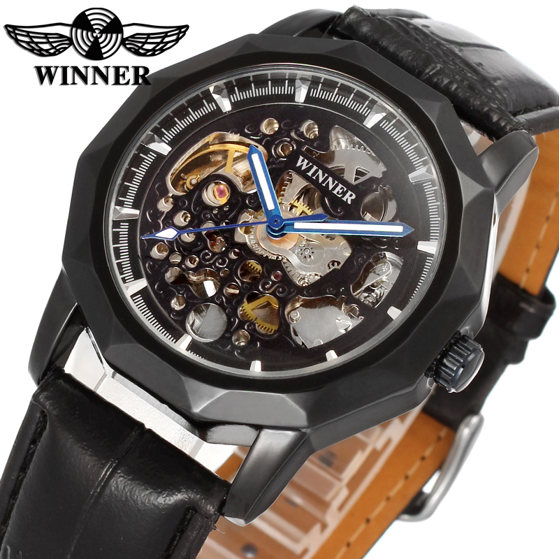 цена на Hot Sale Winner WRG8033M3B1 Automatic dress skeleton watch casual wristwatch for men top quality best gift free shipping