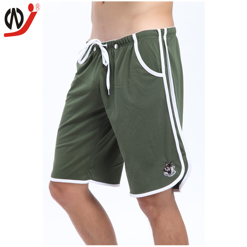 WJ Brand Clothing Man Shorts Summer 2016 Breathable Short Cotton Sweatpants Black Mans Casual Short Fitness Solid Color Trousers
