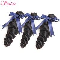 Satai Loose Wave Brazilian Hair Weave Bundles 8 28 Inches Natural Color Remy Hair 100 Human