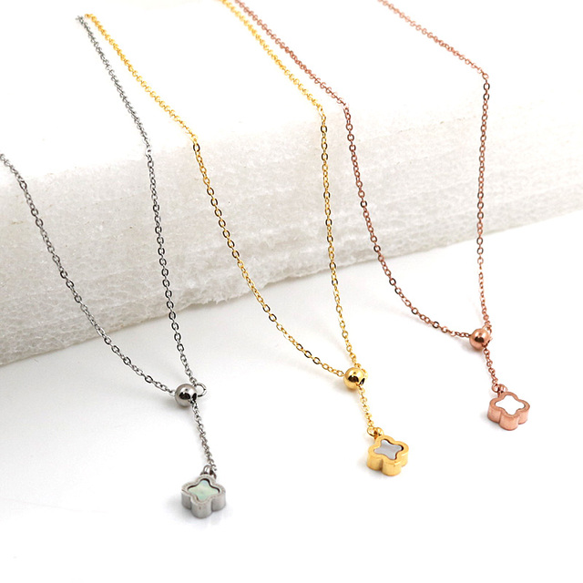 Tiny four leaf clover chain necklace lucky clover necklaces simple tiny four leaf clover chain necklace lucky clover necklaces simple plant shamrock pendant necklace for good aloadofball Images