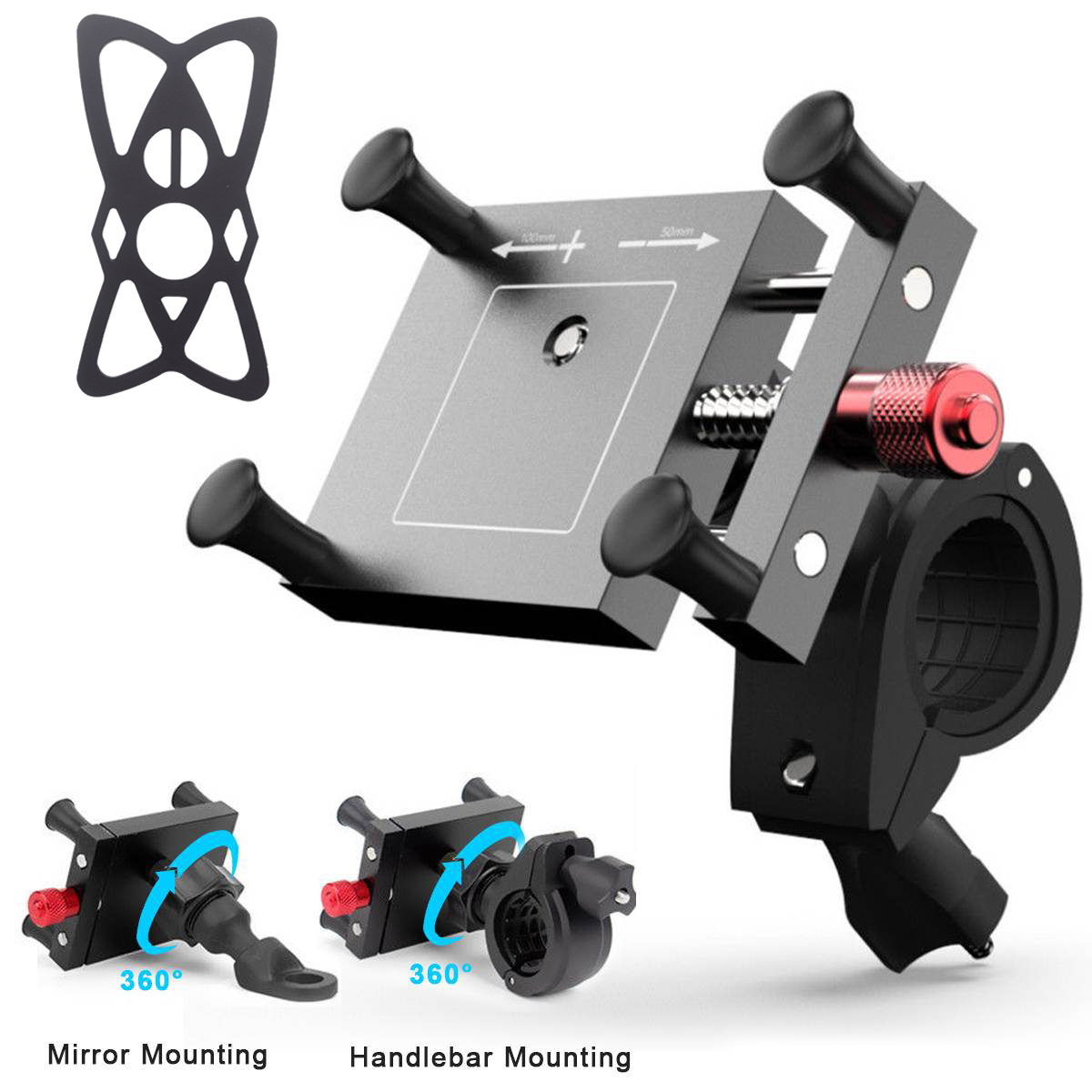 Motorcycle Handlebar Bike Mobile Cell Phone Mount Holder Support Telephone Moto GPS Bicycle Silicone X-grip Mobile Phone Stand