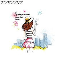 ZOTOONE Alien Custom Patch Biker Fashion Girl Iron on Patches for Clothing Heart Transfers Applique Kids Clothes