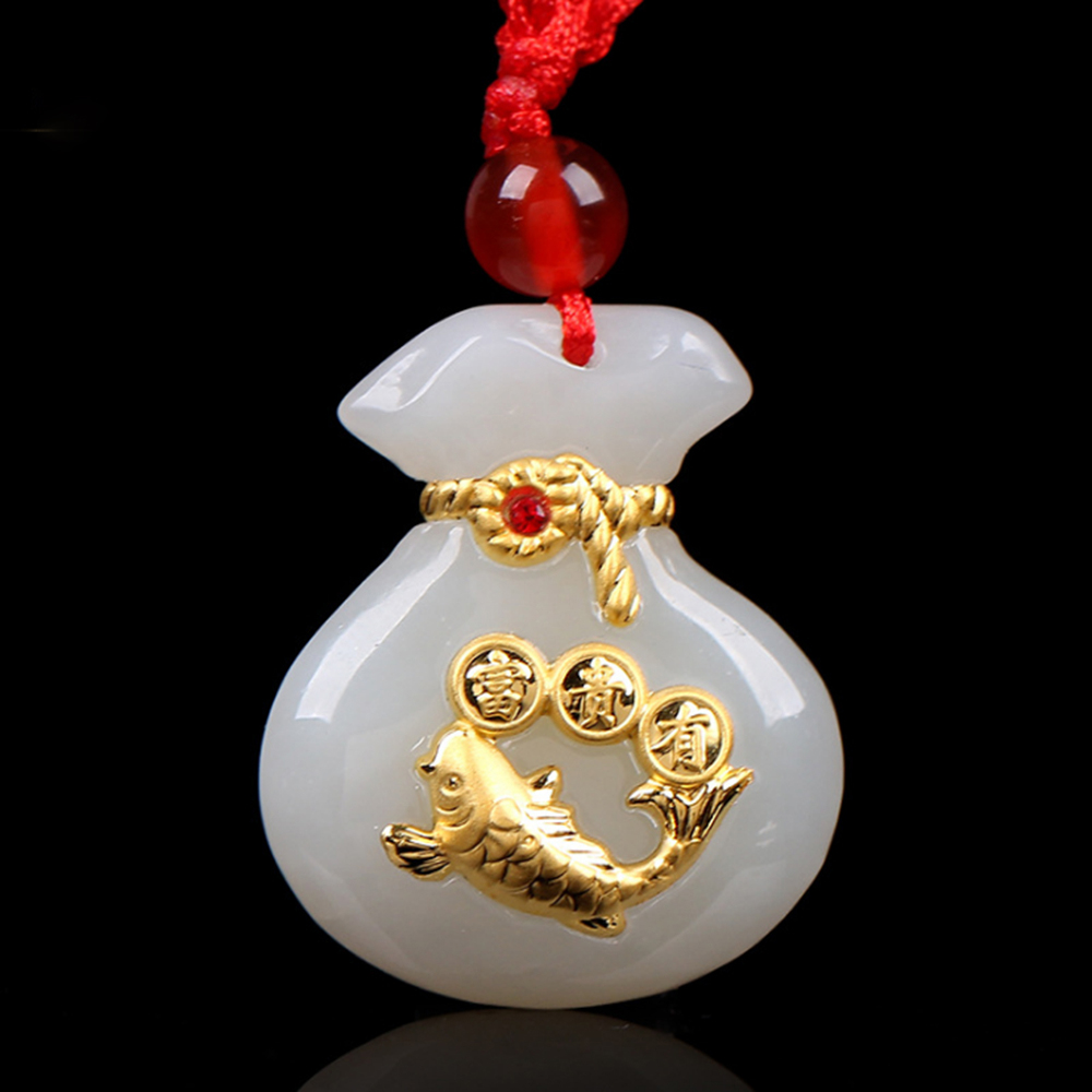High Quality Fashion Fish Pendant Necklace Animal Pendant Carved Jade Necklace Men Good Luck Jewelry Natural