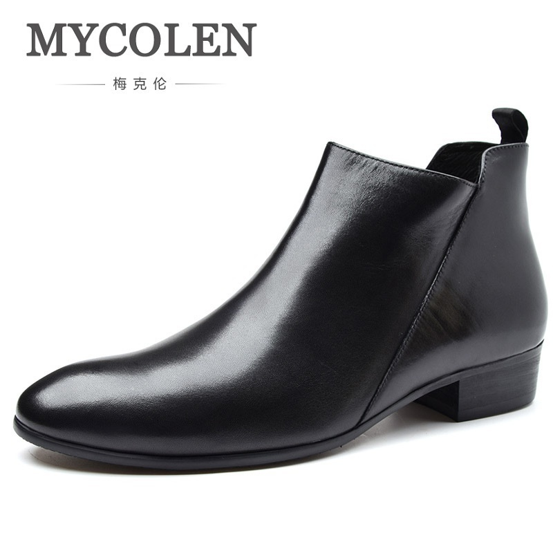 MYCOLEN Genuine Leather High Quality Men Boots Brand Men Winter Boots Trend Comfortable Height Increase Zipper Man Shoes