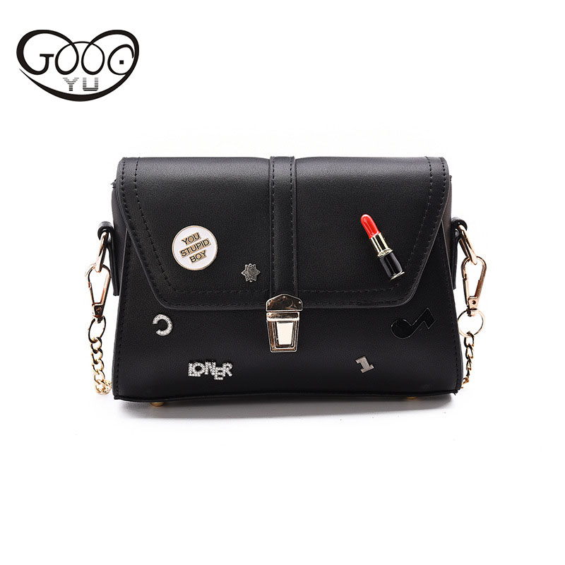 Korean version of the new wild cross section square female bag buckle shoulder Messenger bag badge chain small square bag the other side of the road new extended version cd
