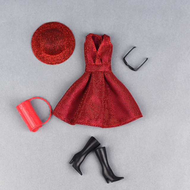 Fashion Red Bling Outfit For 1/6 Barbie Doll 5 pcs Set