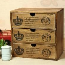 Zakka общей твердой древесины, чтобы сделать старый деревянный играл три ящика шкаф для хранения