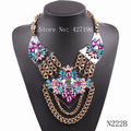 fashion 2017 gold chain colorful resin flower pendant big chunky statement necklace for women party pendant jewelry