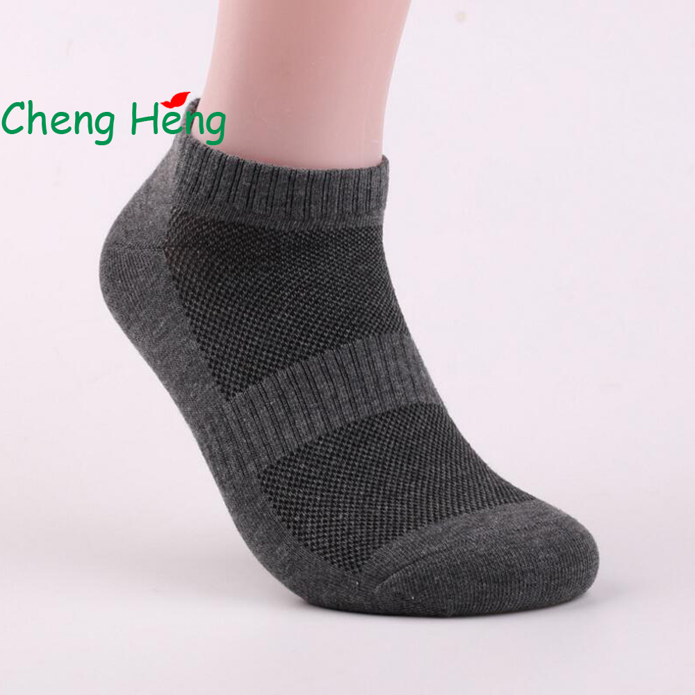 CHENGHENG 20 Pairs / Bag New Hot Cotton Casual Mens Socks Shallow Mouth Invisible Socks Pure Color Waist Cotton Socks 5 Color