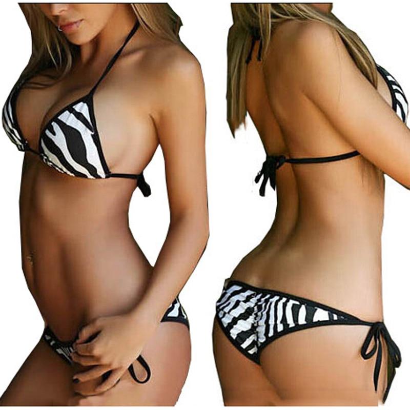 2017 new sexy triangle thong bottom bandage swimsuit Halter Brazilian bikinis set Zebra push up women swimwear bathing suit  2017 summer styles halter bathing suit push up sexy brazilian bikinis set ring bandage thong women swimwear swimsuit beach weave