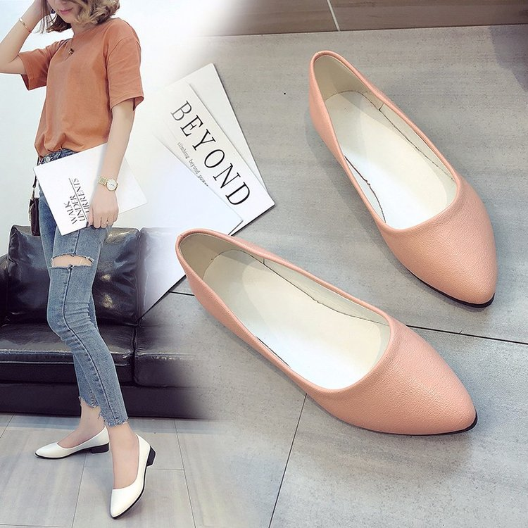 Other Sunny Spring Summer Shoes Woman Heels Low Heels Shoe Heel Women Korean Shoes Pumps Pointe Red Soft Single Shoes Shallow Mouth Slip On