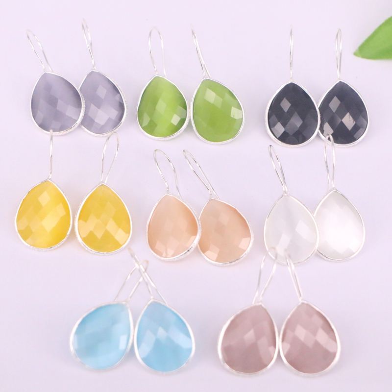 8Pair Fashion Jewelry Silver Color Metal Frame Cat Eye Stone Dangle Earrings For Women