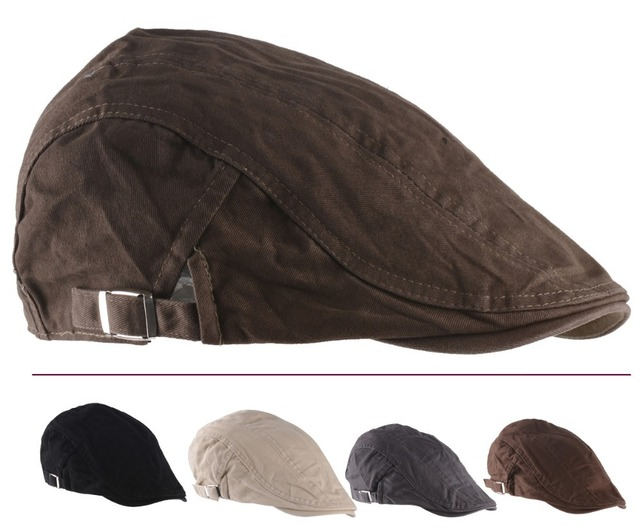 258bd0e68fa 2015 New Solid Fashion Flat Cap Men s Sport Golf Driving Gorra Plana Beret  Boina Hats