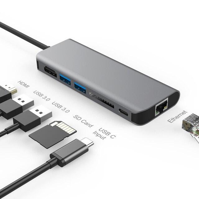 Amkle 6 in 1 USB 3.0 허브 Macbook Pro 용 HDMI/USB 3.1/RJ45/SD/TF/Type C 어댑터 변환기에 USB 3.0 유형 C Google Chromebook