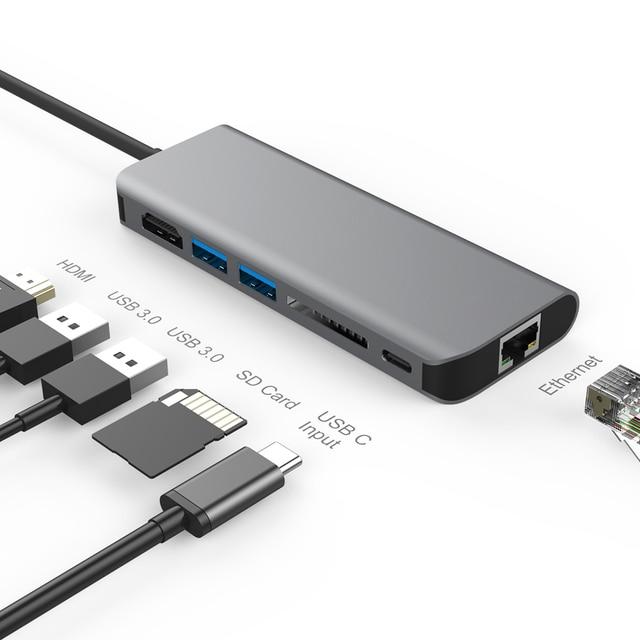 Amkle 6 w 1 USB 3.0 HUB USB 3.1 typ C na HDMI/USB 3.0/RJ45/SD/TF/typ C konwerter adaptera dla Macbook Pro Google Chromebook
