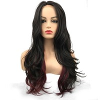 Lace Front Wigs Synthetic Long Curly Wigs Women's Black/Blond Hairpiece Natural Hair StrongBeauty
