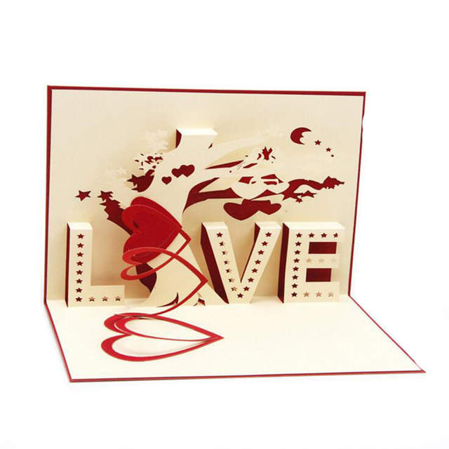 3d Paper Sculpture Invitation Card Creative Love Design Wedding Greeting Card Home Decoration Crafts 20pcs Can Mix Colors