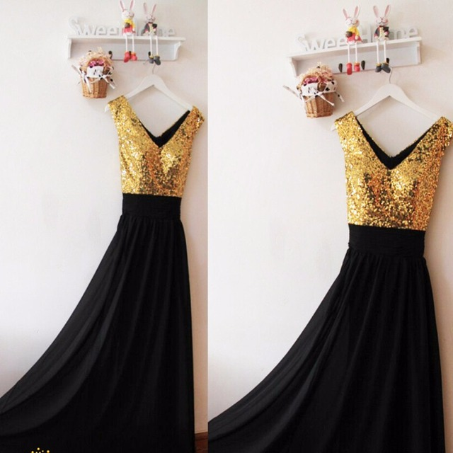 Real Samples Gold Sequins Black Chiffon Long Bridesmaid Dresses with V Neck  A line Floor Length Bridesmaid Dress Party Dress 405faee8b889
