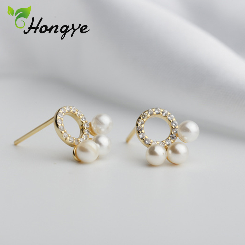 Hongye Shiny Real Pearl Earrings Women Elegant Three Natural Studs Earrings Silver 925 Round Hole Fashion Jewelry Girls Brincos in Earrings from Jewelry Accessories