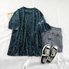 Loose Velvet Gilded Short-sleeved T-shirt Vintage Stars Printed Retro Streetwear Casual Plus Size Ha