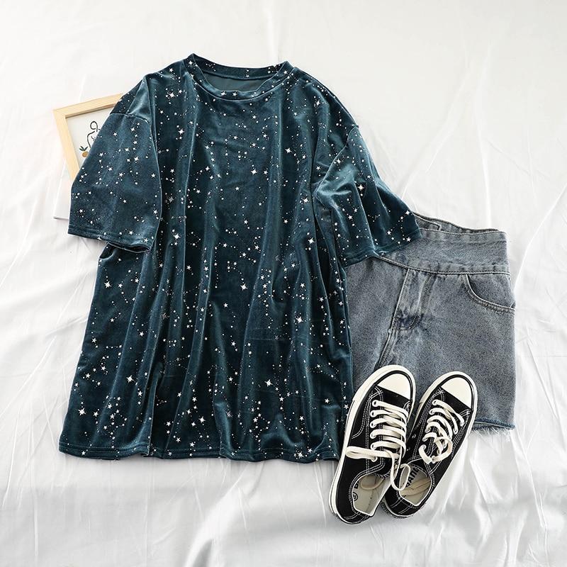 Veludo Dourado Curto-manga solta T-shirt Do Vintage Estrelas Impresso Retro Streetwear Casual Plus Size Harajuku Camiseta Tee Feminino