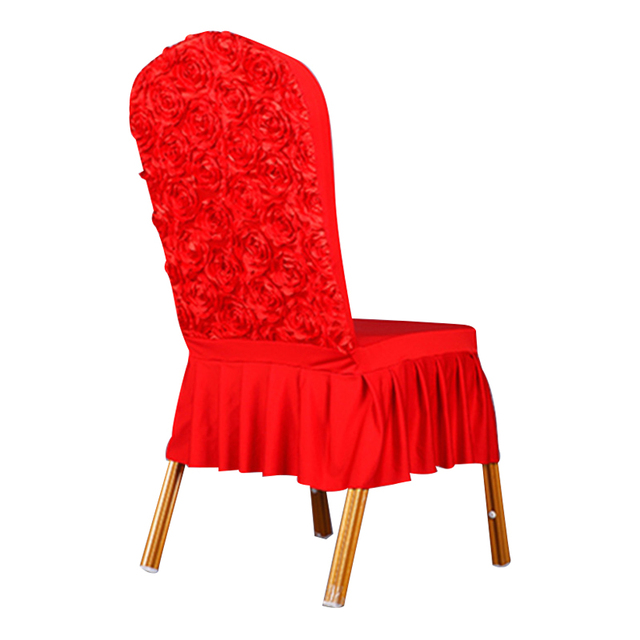Great 1 Piece Wedding Red Rose Chair Covers Spandex Party Home Restaurant Short  Skirt Chair Cover
