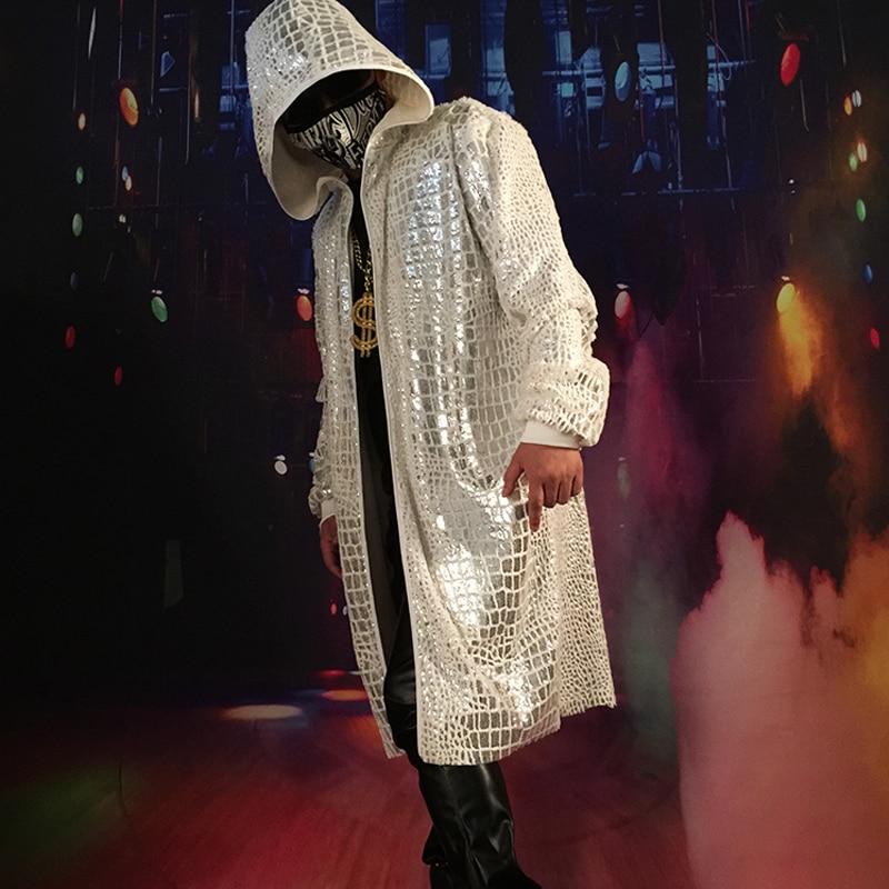 Men Fashion Hip Hop Sequin Long Cloak Hooded   Trench   Coat Singer DJ Stage Costumes Male Cardigan Jacket Windbreaker Overcoat