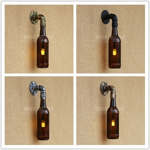 Loft industrial style cafe bar hotel water glass bottle led wall lamp vintage loft industrial edison flower glass ceiling lamp droplight pendant hotel hallway store club cafe beside coffee shop