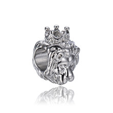 free shipping 1pc silver plated lion king of jungle big hole Bead Fits European Pandora Charm Bracelets & Necklaces A009(China)
