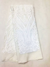 Hot Sale french lace 5yards/lot cheap african sequins lace fabric white high quality african tulle lace fabric VS-M1059