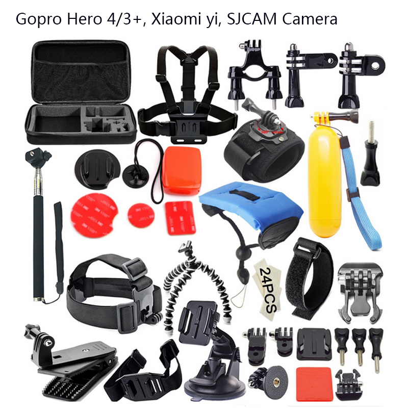 Gopro Accessories Set Helmet Harness Chest Belt Head Mount Strap Monopod Go pro Hero 4 session 3+ For xiaomi yi SJ4000 SJ7000