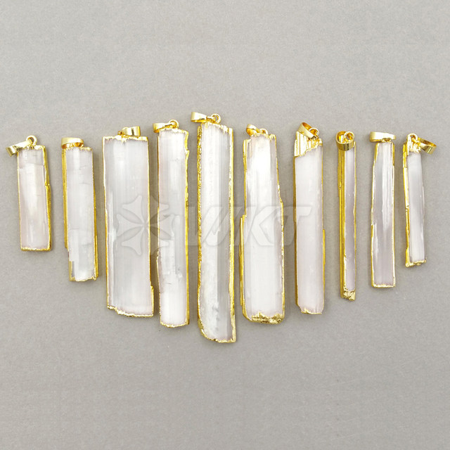 Online shop wt p1180 wholesale custom natural selenite pendant with wt p1180 wholesale custom natural selenite pendant with gold trim unique rectangle pendant for wkt fashion arrived jewelry aloadofball Gallery