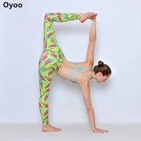Oyoo Śliczne Elastyczna Zielony Ice Cream Wydrukowano Sport Joga Spodnie Taniec Siłownia Rajstopy Legginsy Kobiety Niebieski Pomarańczowy Kontrast Femme Sportowej