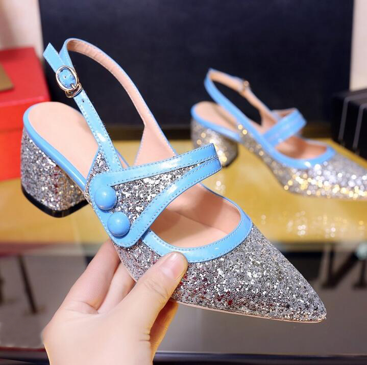 Summer 2017 Sexy Pointed Toe Womens Low Heel Pumps Zapatillas De Mujer Bling Shoes Chunky Heel WomenS Shoes Blue&Pink