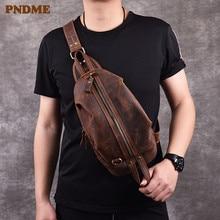 PNDME retro crazy horse cowhide men's chest bag high quality genuine leather shoulder messenger bag designer luxury sports bags стоимость